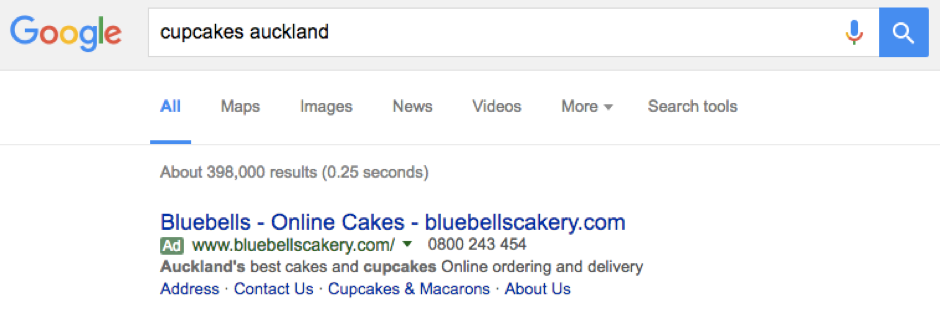 Google Adwords Text Ad Example