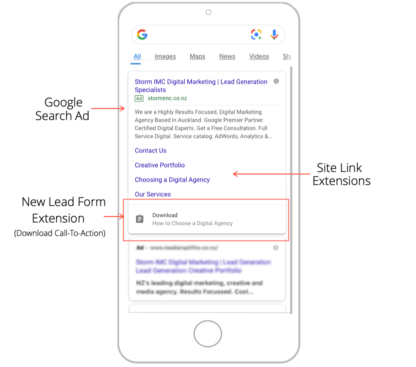 Google SERP with Lead Form Extension